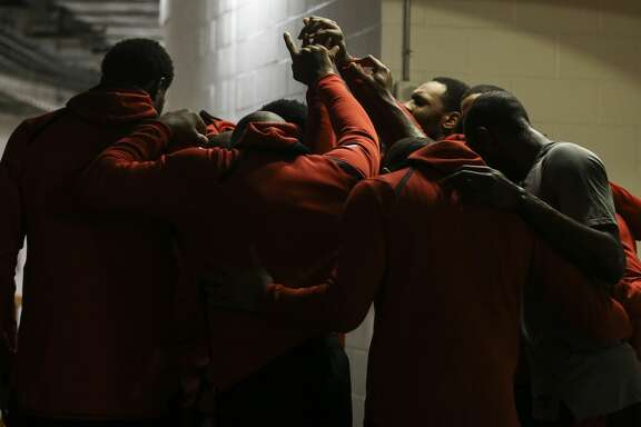 Houston Rockets players huddle together before taking the court for the NBA game against the Portland Trail Blazers at Toyota Center on Wednesday, Jan. 10, 2018, in Houston. ( Yi-Chin Lee / Houston Chronicle )