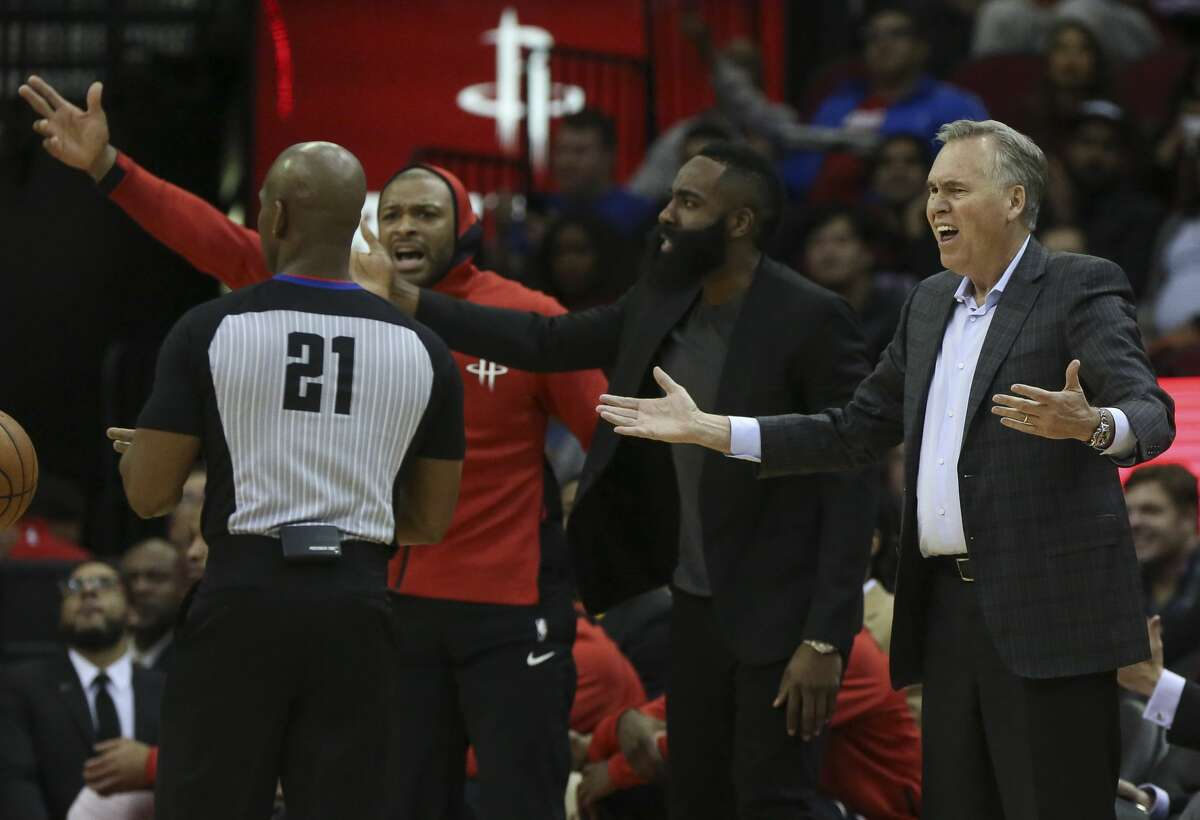 Houston Rockets head coach Mike D'Antoni, from right, James Harden and P.J. tucker disagree with referee Dedric Taylor (21) calling Clint Capela (15) foul during the first quarter of the NBA game against the Portland Trail Blazers at Toyota Center on Wednesday, Jan. 10, 2018, in Houston. ( Yi-Chin Lee / Houston Chronicle )