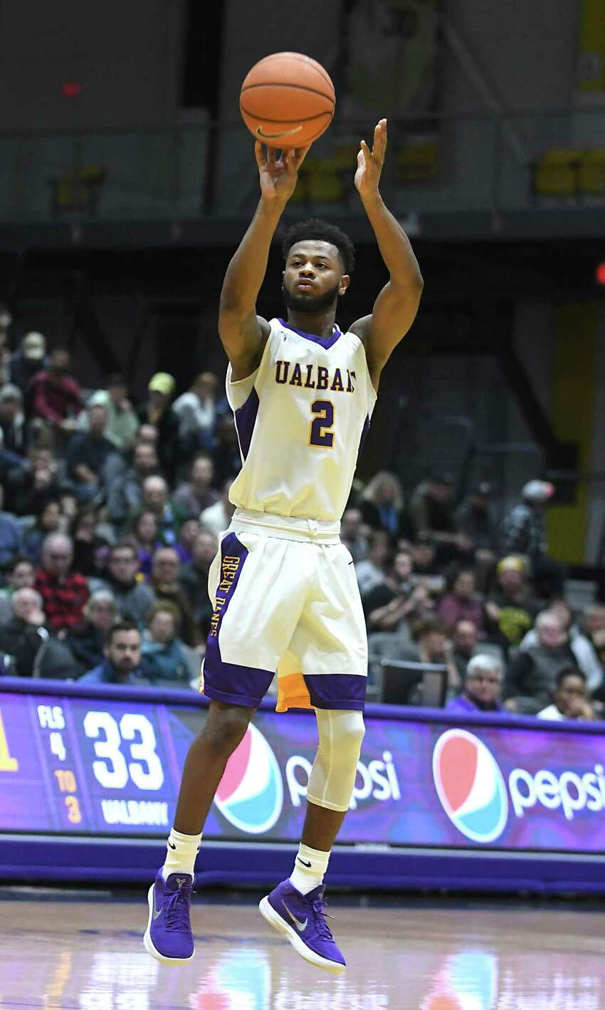 University at Albany's Ahmad Clark takes a shot during a basketball game against Stony Brook at SEFCU Arena on Wednesday, Jan. 10, 2018 in Albany, N.Y. (Lori Van Buren/Times Union)