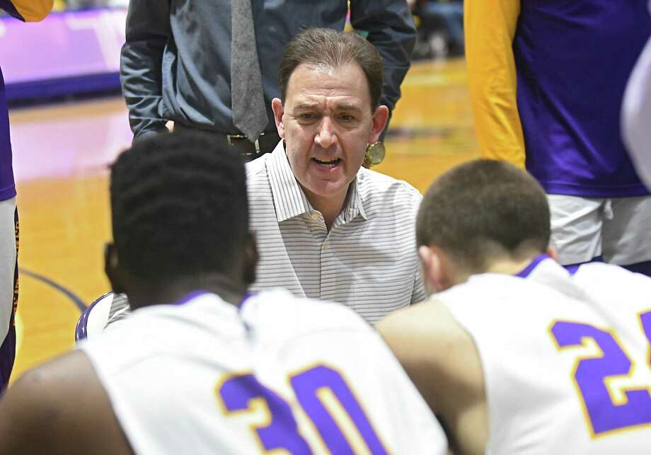 University at Albany head coach Will Brown talks to his team at a timeout during a basketball game against Stony Brook at SEFCU Arena on Wednesday, Jan. 10, 2018 in Albany, N.Y. (Lori Van Buren/Times Union) Photo: Lori Van Buren / 20042383A