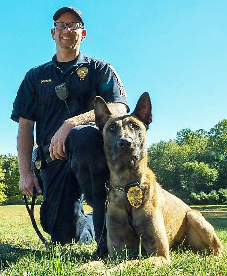 "Brookfield Police Sgt. Jeff Osuch and his K9 partner Argo. The Belgian Malinois police dog will be getting a protective vest thanks to a charitable donation from the nonprofit organization Vested Interest in K9s, Inc. K9 Argo's vest is sponsored by a fundraiser hosted by Protectors of Animals of East Hartford. It will be embroidered with the sentiment ""This gift of protection provided by Protectors of Animals."" Argo was purchased through a donation a $12,500 donation from longtime Brookfield residents Warren and Ruth Malkin. Photo: Brookfield Police Department Photo"