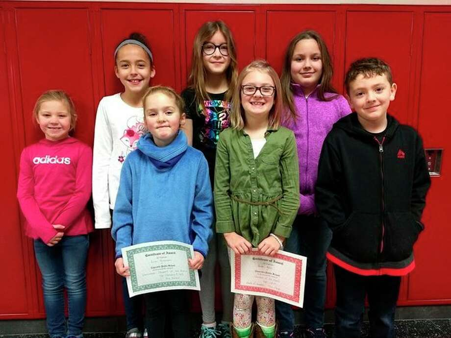 (From left): Kendall Hackbarth kindergarten; Makenzie Lapka, 4th grade; Anna Pike, 5th grade; Lilyann Dow, 3rd grade; Erin Brannan, 1st grade; Hunter Pedery, 2nd grade; and Leo Swoffer, 2nd grade. (Submitted Photo)