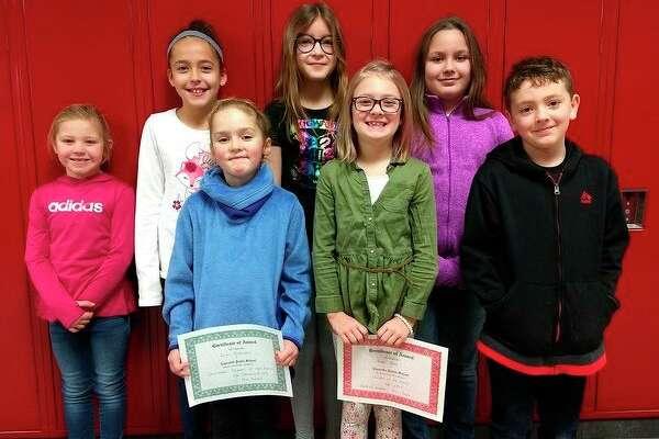 (From left): Kendall Hackbarth kindergarten; Makenzie Lapka, 4th grade; Anna Pike, 5th grade; Lilyann Dow, 3rd grade; Erin Brannan, 1st grade; Hunter Pedery, 2nd grade; and Leo Swoffer, 2nd grade. (Submitted Photo)
