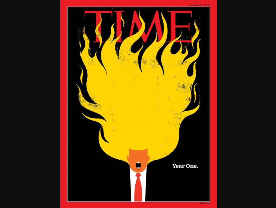 """Time magazine used an illustration of U.S. President Donald Trump's hair on fire with the words """"Year One.""""Scroll ahead to see other magazines that have used their covers to comment on Trump and his handling of major events. Photo: Time"""