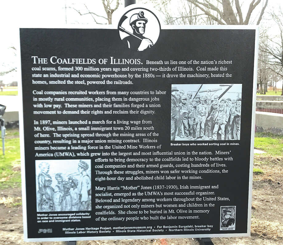 The Mother Jones Heritage Project's marker at the Coalfield Rest Area on I-55. Photo: For The Edge
