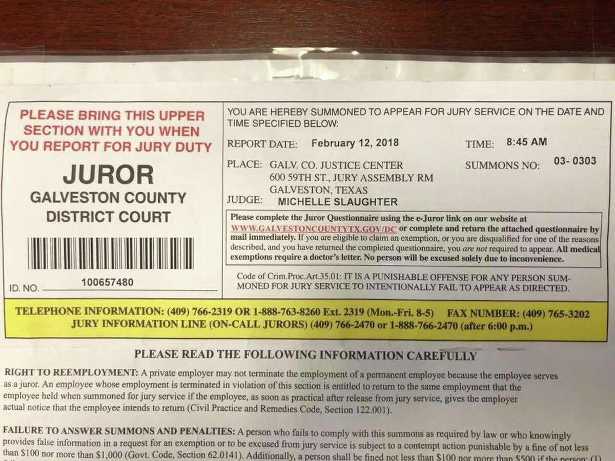 Houston district court judge Michelle Slaughter incorrectly receives jury summons to her own court.