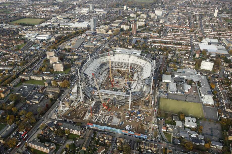 An aerial view as work continues on Tottenham Hotspur's New Stadium at White Hart Lane on November 16, 2017 in London, England. The Seahawks will play the first NFL game in the new stadium on Oct. 14. Photo: Tottenham Hotspur FC/Tottenham Hotspur FC Via Getty Images