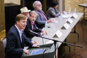 "Gubernatorial candidate Andrew White, left, speaks during a Democratic gubernatorial candidate forum in San Angelo on Monday. At another event Thursday, White said he opposes the death penalty in Texas because it is ""broken."""