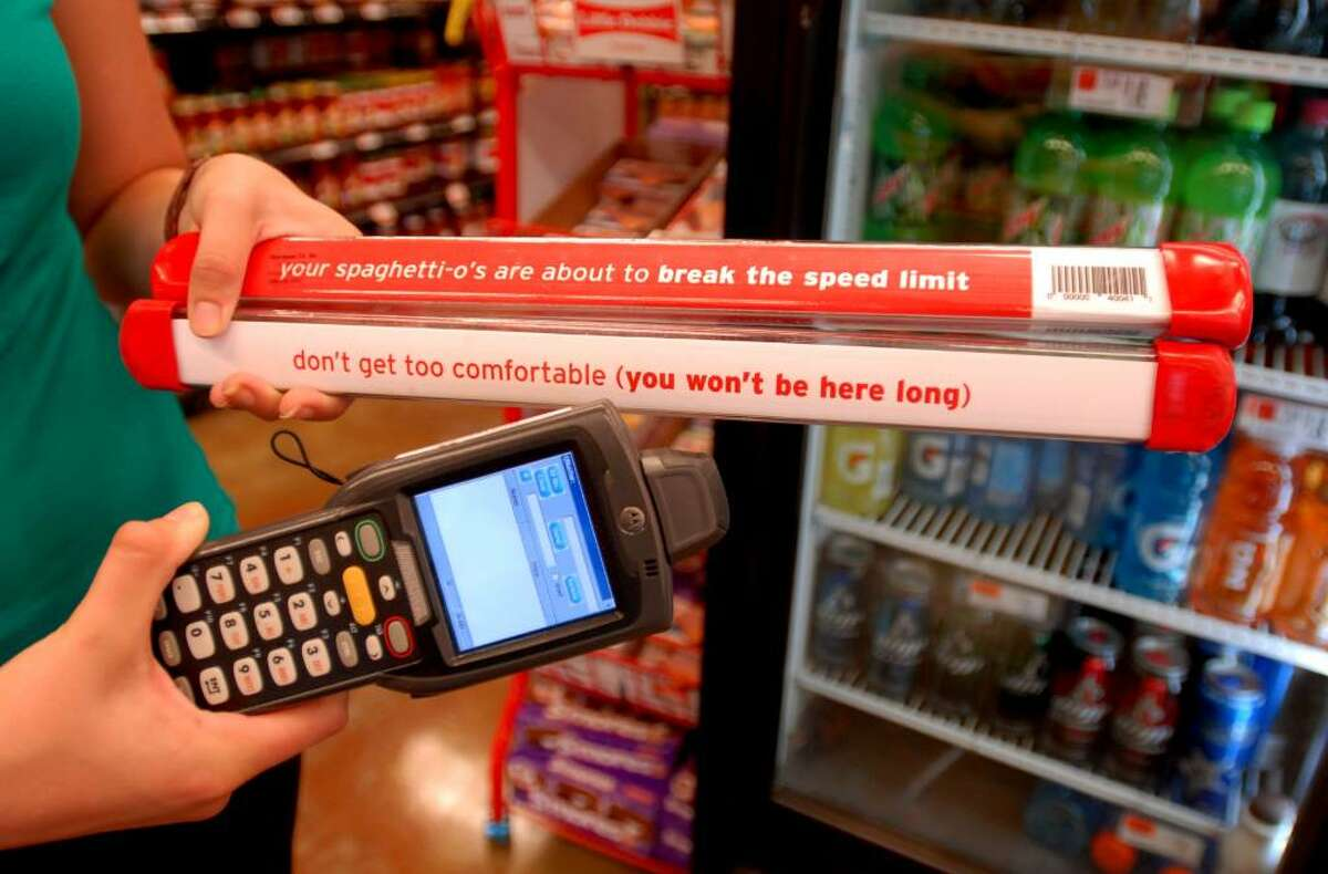 A hand scanner is used to speed the Hannaford checkout line at the Ballston Spa Hannaford supermarket in Milton. (Luanne M. Ferris / Times Union)