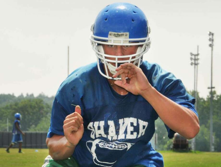 Shaker junior tight end Christian Sherwin practices at the school.  (John Carl D'Annibale / Times Union) Photo: John Carl D'Annibale / 00005156A