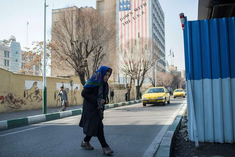 """Antipathy toward the United States is displayed on a building with the words """"down with the U.S.A."""" written on it in Tehran, Iran, Feb. 8, 2017. Photo: ARASH KHAMOOSHI, NYT"""