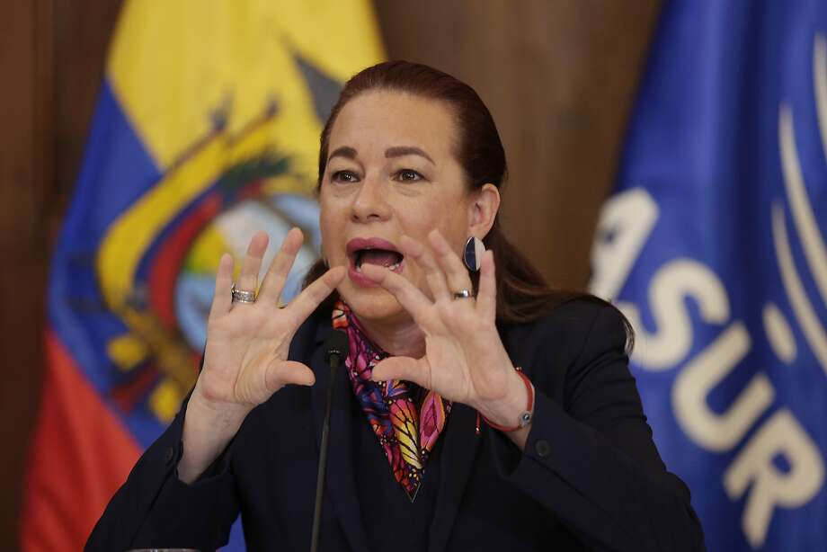 """What naturalization does is provide the asylum-seeker another layer of protection,"" said Ecuador's Foreign Minister Maria Fernanda Espinosa at a press conference in Quito. Photo: Dolores Ochoa, Associated Press"