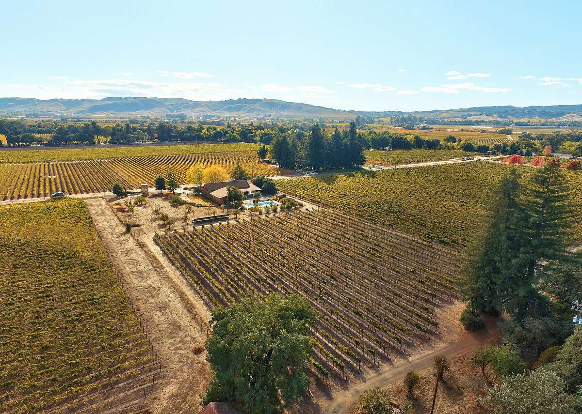 The Sonoma home sits on 3.35 acres and includes a chardonnay vineyard.