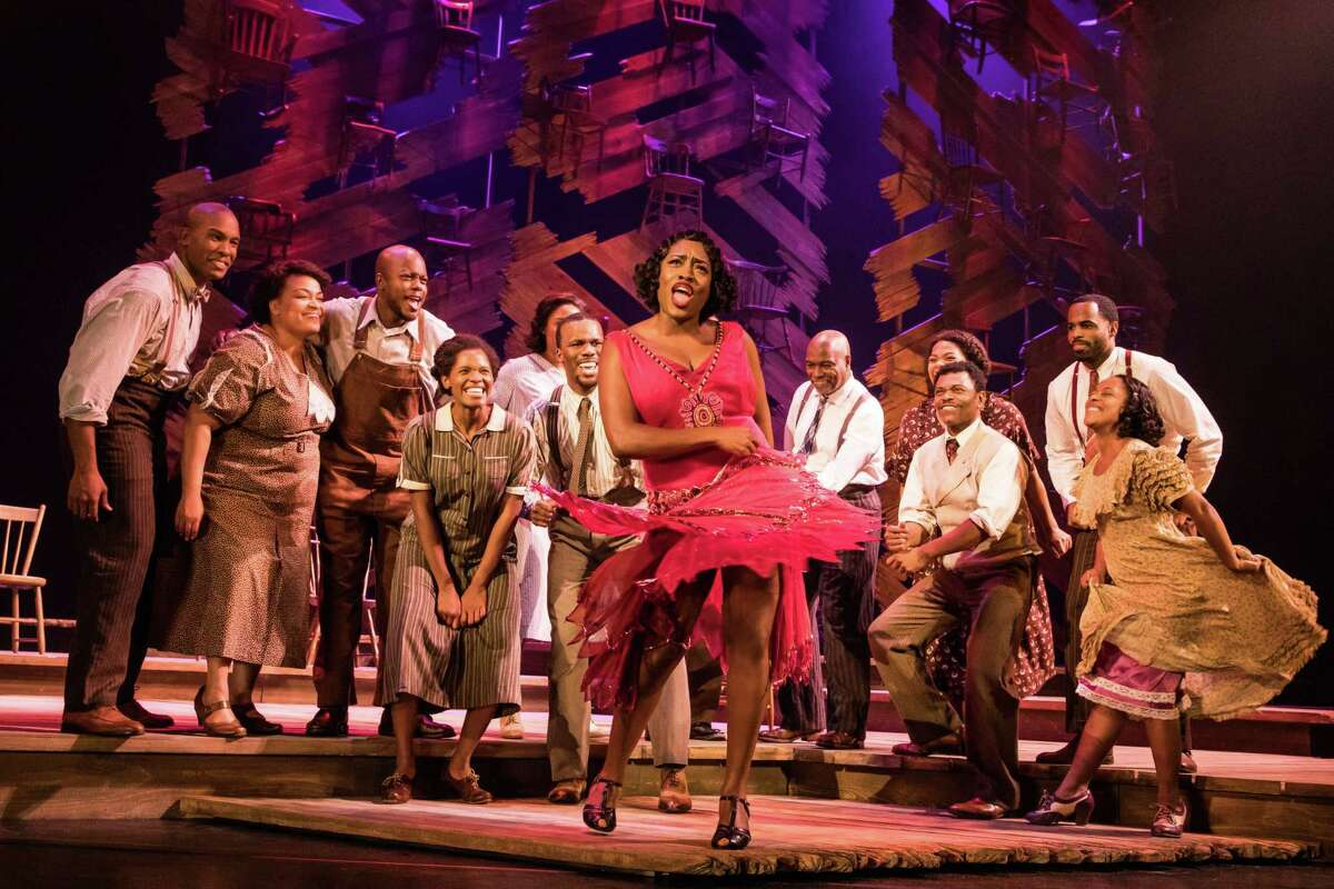 """Carla R. Stewart (Shug Avery) and the North American tour cast of """"The Color Purple."""""""