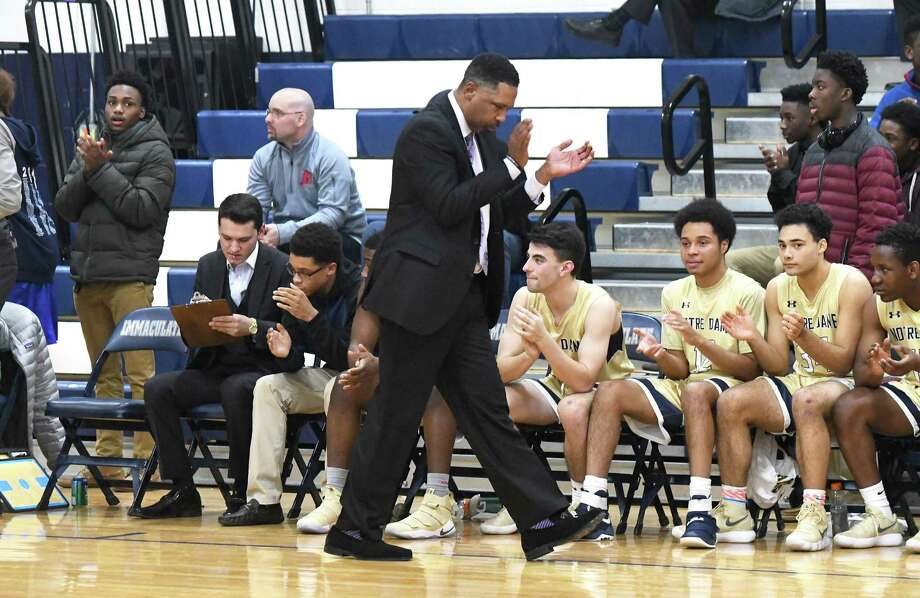 Notre Dame-Fairfield coach Chris Watts and his Lancers play Xaverian (Brooklyn) at 3 p.m Monday in the third game of four in the MLK Classic at Webster Bank Arena in Bridgeport. Photo: Krista Benson / For Hearst Connecticut Media / The News-Times Freelance