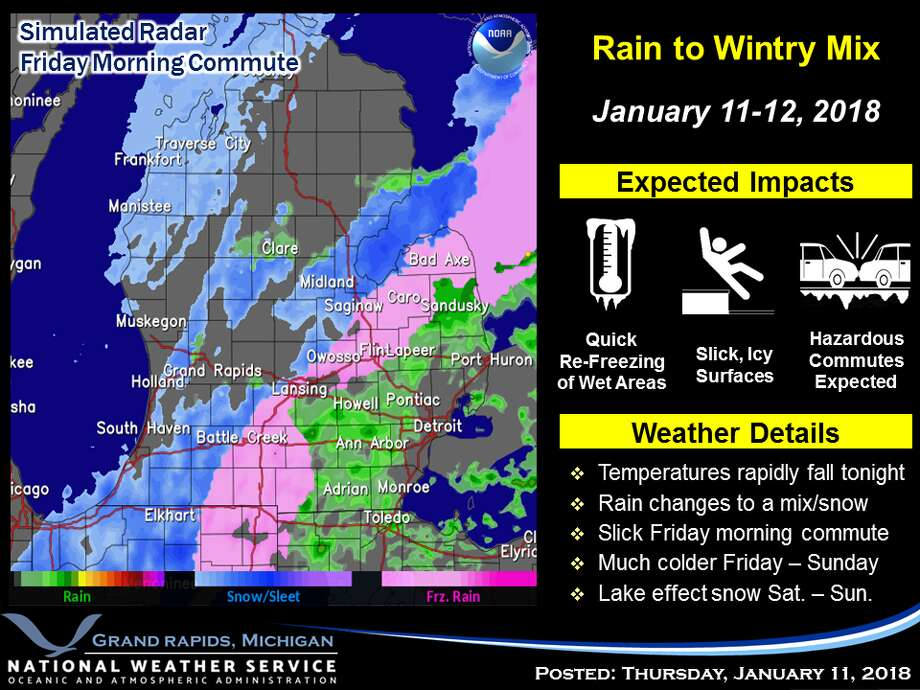 All areas will experience a slick Friday morning commute. Photo: National Weather Service Grand Rapids