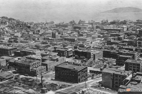 View Northeast from Fairmont Hotel toward bay, Donaldina Cameron House at Sacramento and Joice street in foreground. c. 1910  Courtesy by  OpenSFHistory .