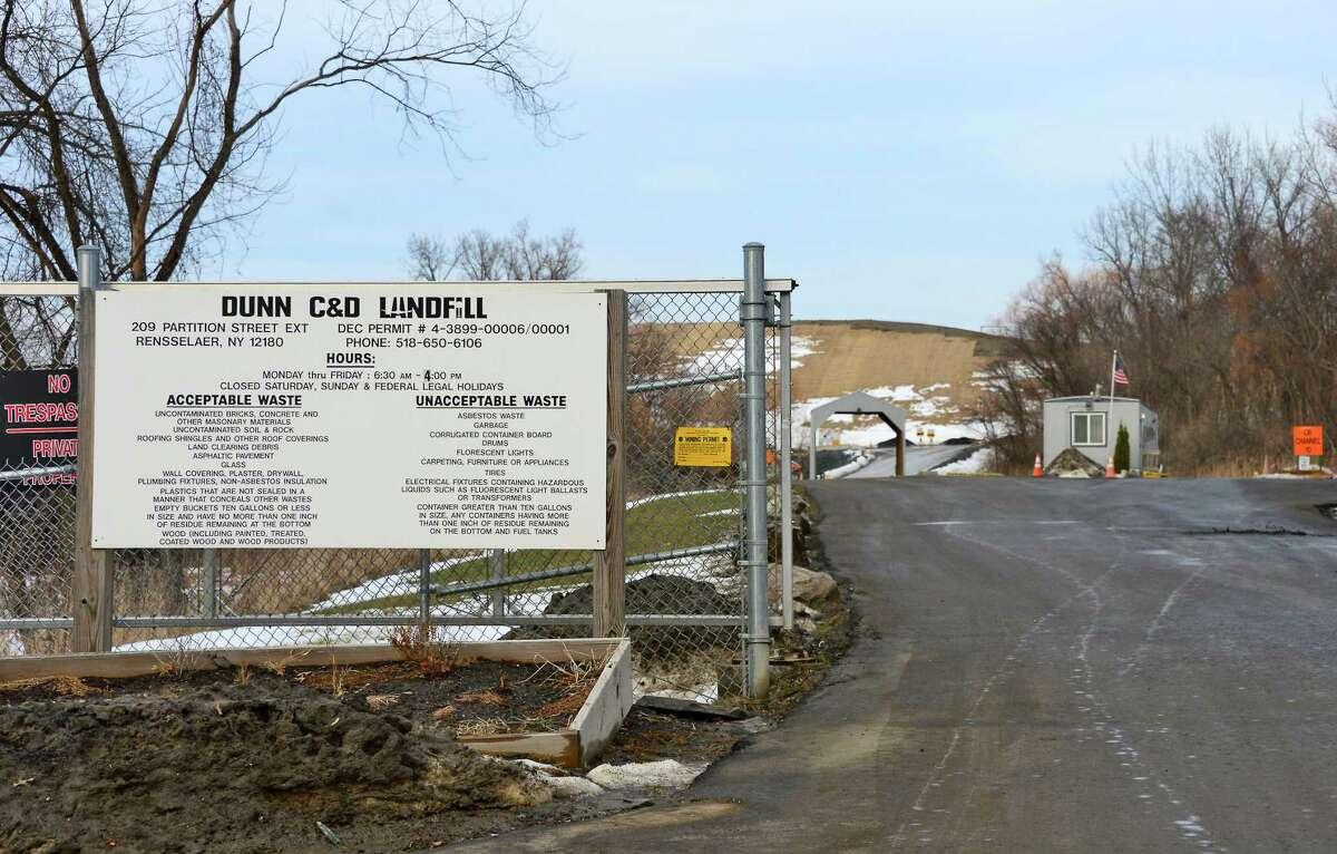 Entrance to the Dunn C&D Landfill Thursday Jan. 11, 2018 in Rensselaer, NY. (John Carl D'Annibale/Times Union)