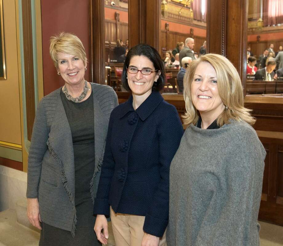 State Reps. Laura Devlin, R-134, Cristin McCarthy Vahey, D-133, and Brenda Kupchick, D-132, have joined the legislature's newly formed bi-partisan Fire and EMS Caucus. Photo: Contributed / Contributed Photo / Fairfield Citizen