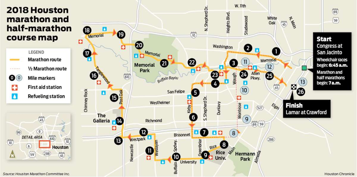 Route map for the 2018 Chevron Houston Marathon, to be held Sunday, Jan. 14, 2018.