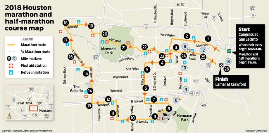 Route map for the 2018 Chevron Houston Marathon, to be held Sunday, Jan. 14, 2018. Photo: Houston Chronicle