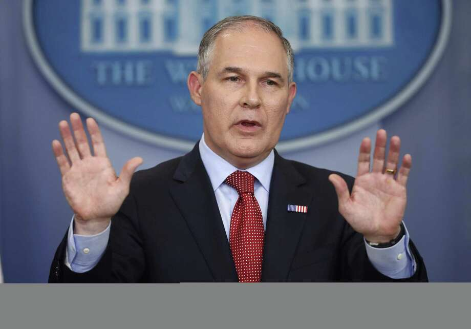 In this June 2, 2017, photo, EPA Administrator Scott Pruitt speaks to the media during the daily briefing in the Brady Press Briefing Room of the White House in Washington. Retirements and departures from the U.S. Environmental Protection Agency have shrunk its workforce to levels not seen since the Reagan administration. Photo: Pablo Martinez Monsivais /Associated Press / Copyright 2017 The Associated Press. All rights reserved.