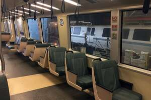 Some BART trains with modified seating plans now feature longer hand-holding straps, more easily accessible to shorter passengers.