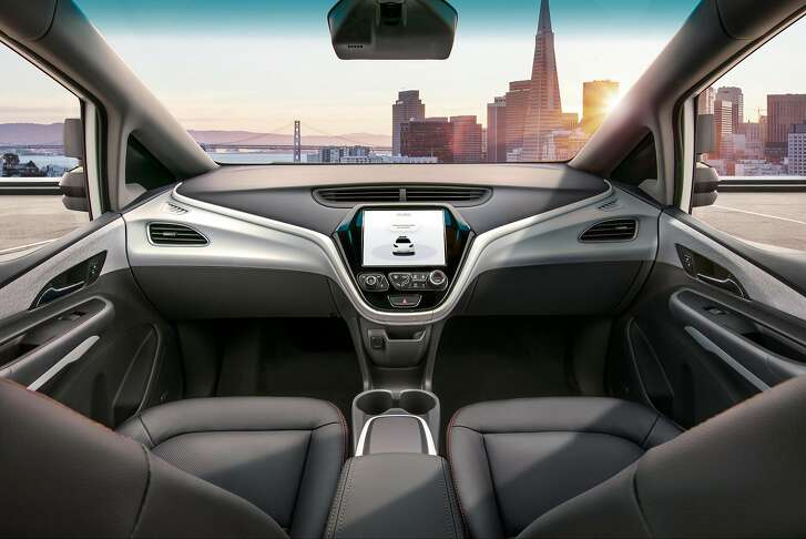 The interior of the new GM self-driving car contains�no steering wheel, brake pedals or accelerator.