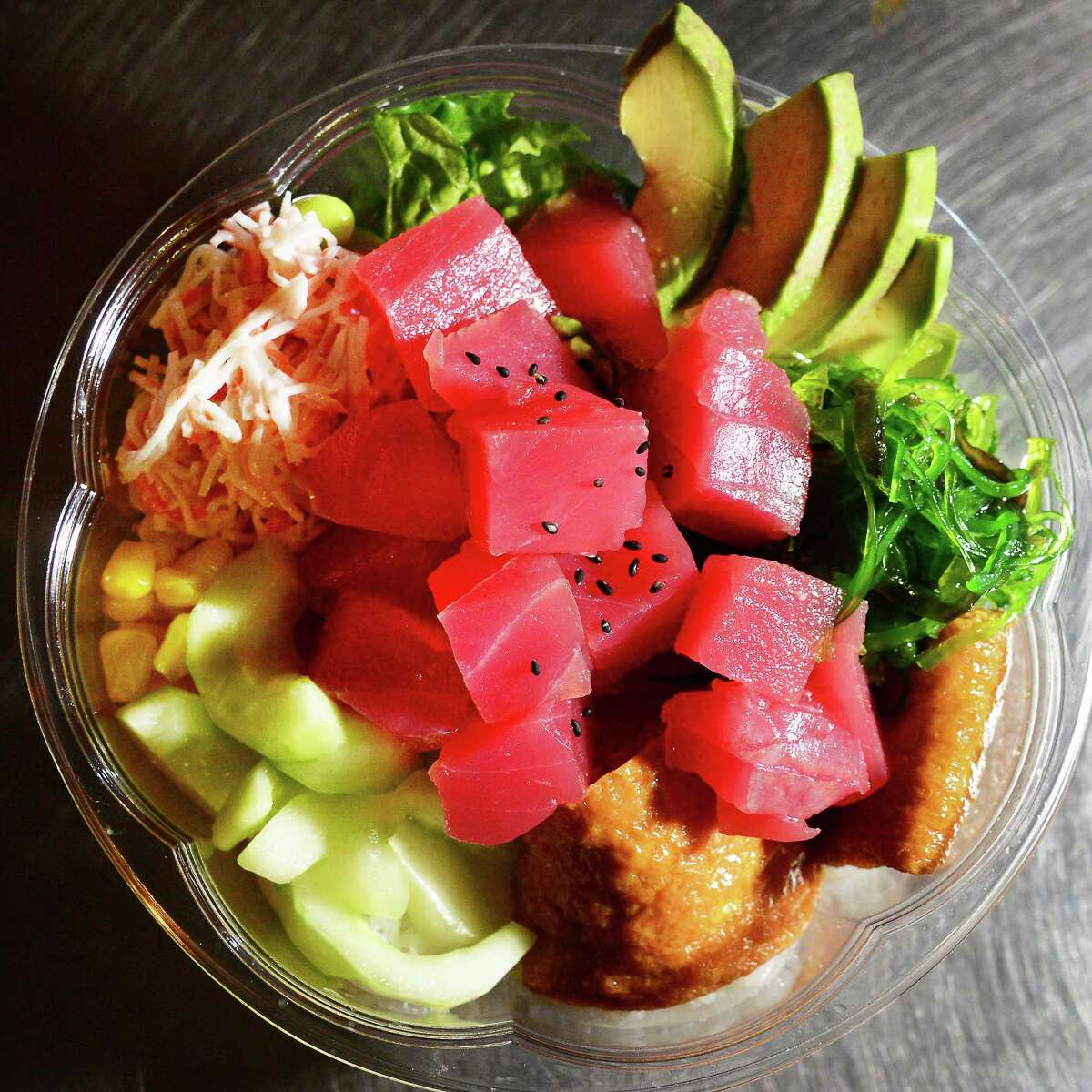A tuna bowl at the Kobe sushi restaurant in Galleria 7 Friday Jan. 5, 2018 in Colonie, NY.