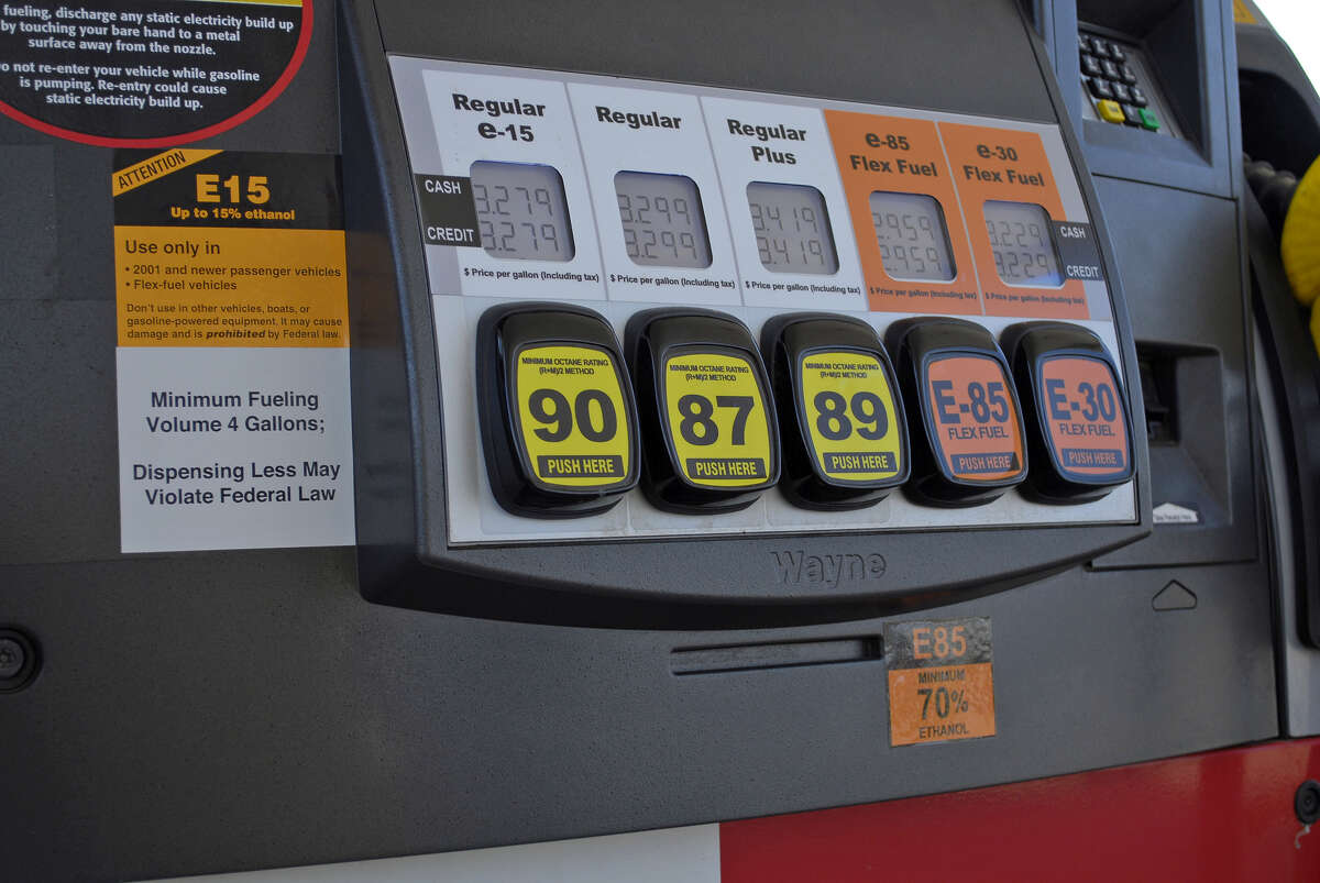 A fueling station pump in Lawrence, Kan., offers various grades of fuel, including E15. (Associated Press)
