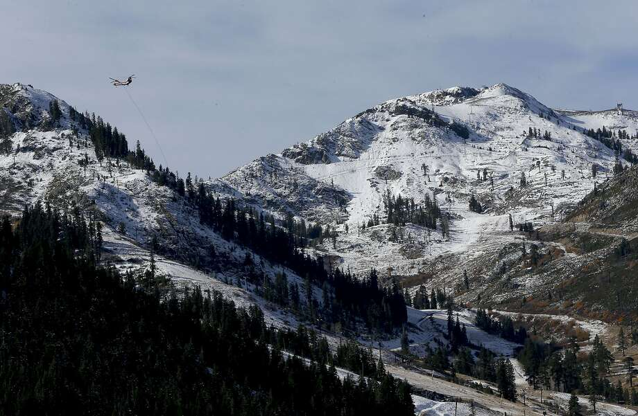 Snow on the mountain peaks at the Alpine Meadows ski resort, site of the strongest wind ever recorded in California. Photo: Michael Macor, The Chronicle