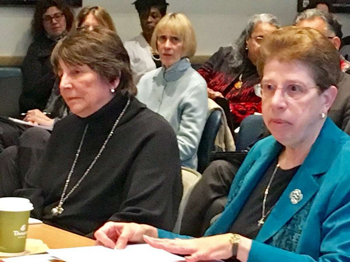 NEASC officials Barbara Brittingham, left, and Patricia O'Brien, meet with Connecticut Board of Regents. Jan. 11, 2018 in Hartford.