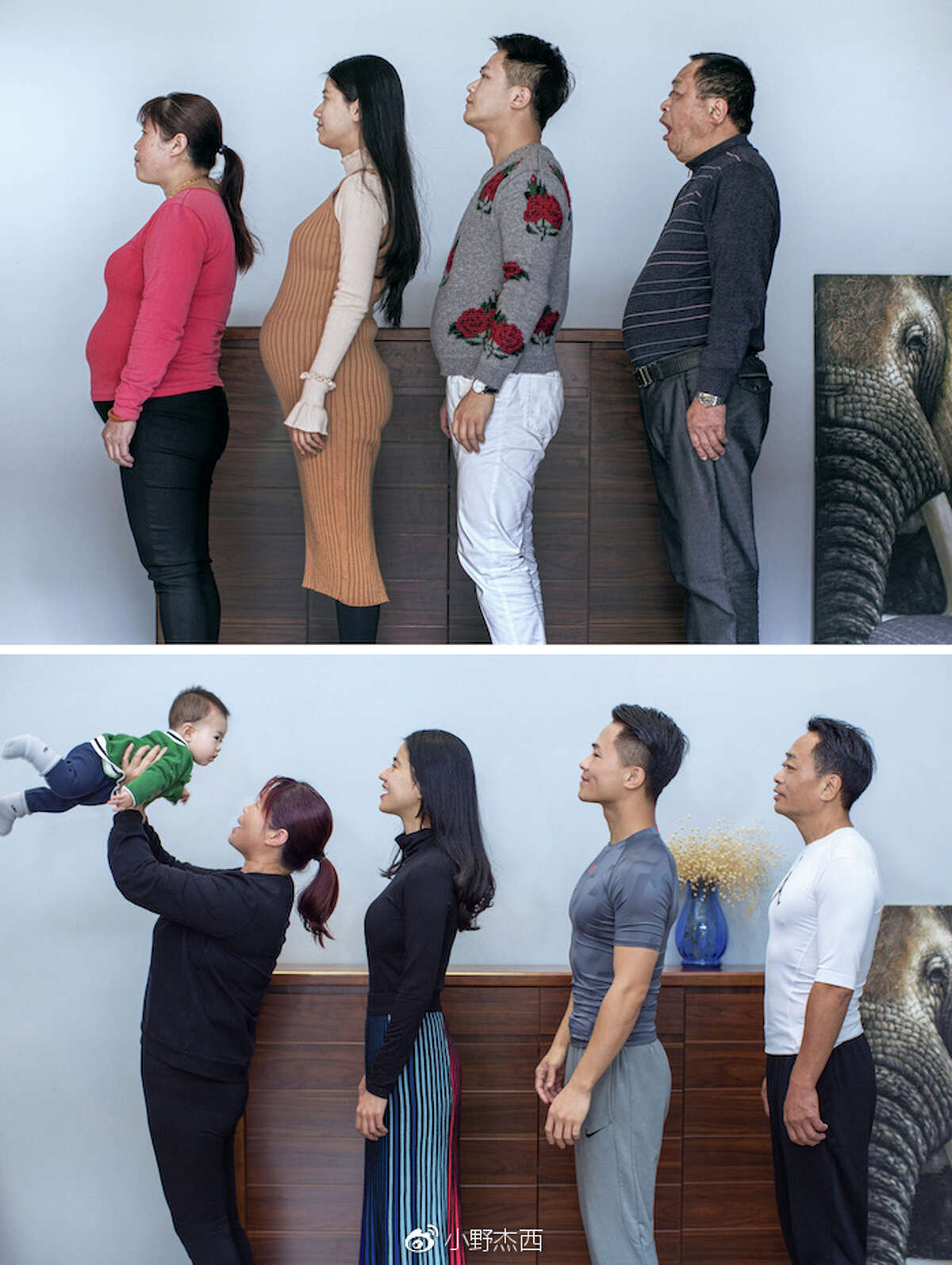 The family that goes to the gym together, gets thin together. Chinese photographer Jesse Ding documented the progress of his family's joint fitness and weight-loss program over six months. Here's how they looked when they started (top) and at the end of the program.