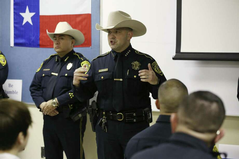 Bexar County Sheriff Javier Salazar talks with cadets from the Patrol Class 2018 A at the Bexar County Sheriff's Office Academy, Monday. Salazar is implementing a 40-hour annual in-service training for all deputies and will cover de-escalation tactics, officer resiliency and their interactions with the public. Photo: JERRY LARA /San Antonio Express-News / © 2018 San Antonio Express-News