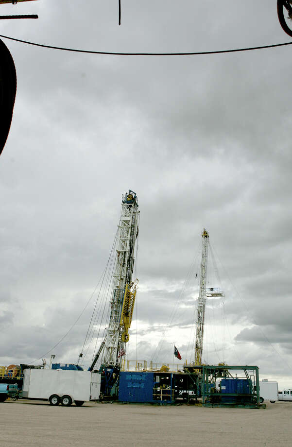 A pair of drilling rigs with will soon be deployed into the field sit in the Desta Drilling yard. Photo: Gary Rhodes