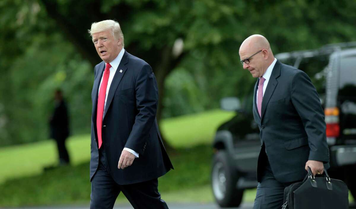 President Donald Trump walks with National Security Adviser H.R. McMaster from the Oval Office to Marine One on the South Lawn of the White House in Washington, Friday, June 16, 2017, for a short trip to Andrews Air Force Base, Md., then onto Miami. (AP Photo/Susan Walsh)