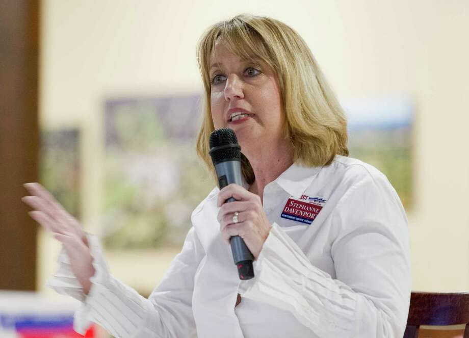 Incumbent Montgomery County Treasurer Stephanne Davenport  speaks during a political forum at the Liberty Belles Republican Women meeting, Thursday, Jan. 11, 2018, in Panorama Village. Photo: Jason Fochtman, Staff Photographer / © 2018 Houston Chronicle