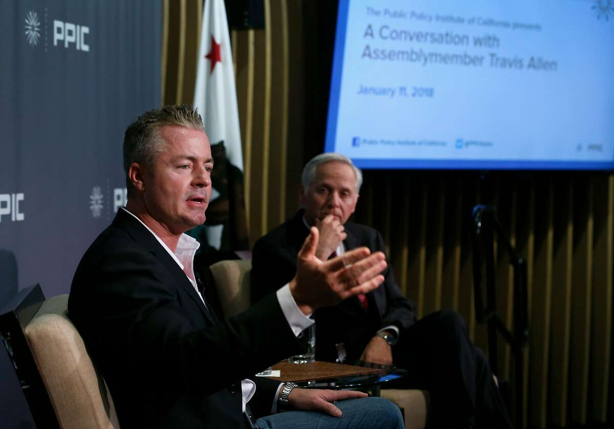 Orange County Assemblyman Travis Allen, a Republican gubernatorial candidate, is the featured speaker in a conversation with Public Policy Institute of California president and CEO Mark Baldassare in San Francisco, Calif. on Thursday, Jan. 11, 2018.
