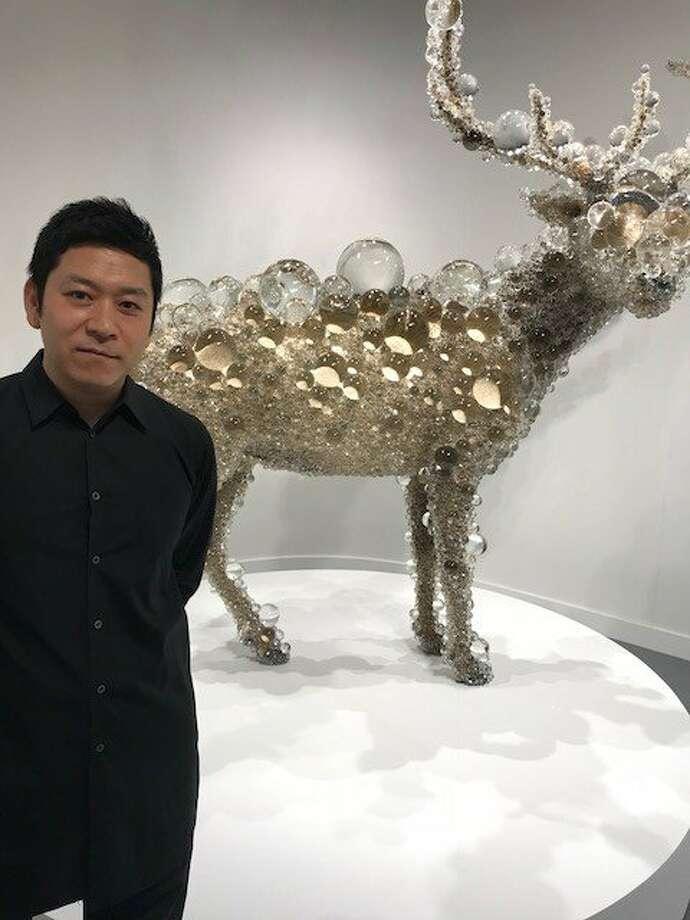 "Kohei Nawa and ""PixCell-Maral Deer"" at SF FOG Design + Art. Photo: Leah Garchik, San Francisco Chronicle"
