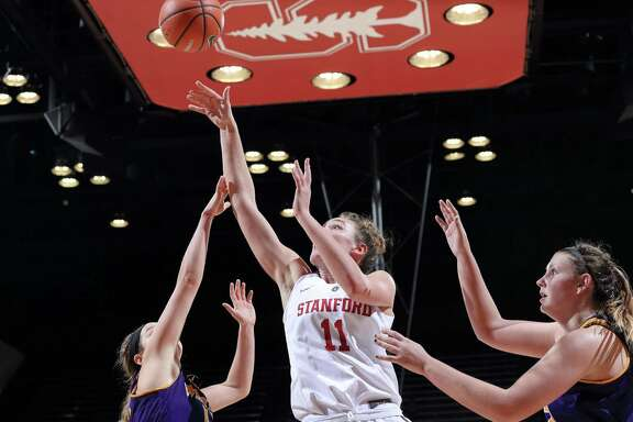 Alanna Smith of Stanford Women's Basketball goes to the basket agaisnt Western Illinois at Maples Pavilion in Stanford, CA on December 18, 2017. Stanford went on to lose 71-64.