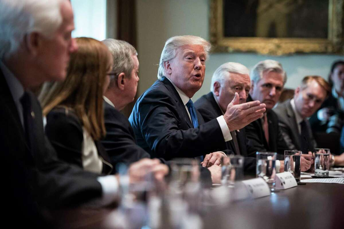 President Donald Trump, speaking during a meeting with lawmakers on immigration policy in the White House on Tuesday, delivered a passionate case for congressional earmarks. (Jabin Botsford / Washington Post)