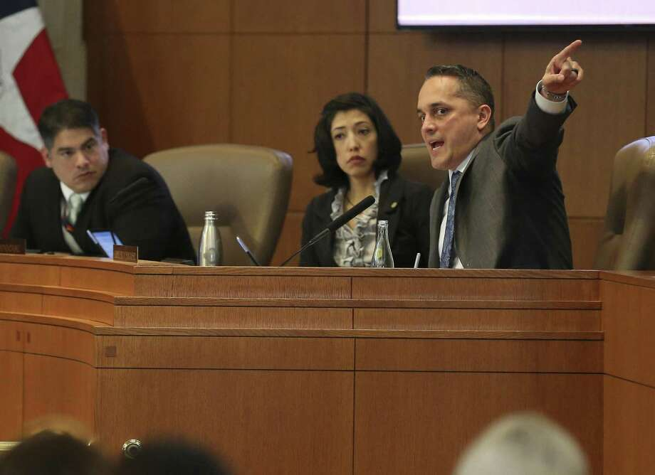 San Antonio City Councilman Greg Brockhouse expresses dissatisfaction with a new city law banning retailers from selling tobacco products to young adults 18 to 20 years old. He requested that City Council delay its vote on the measure Thursday, but that plea was rebuffed. Photo: Kin Man Hui /San Antonio Express-News / ©2018 San Antonio Express-News