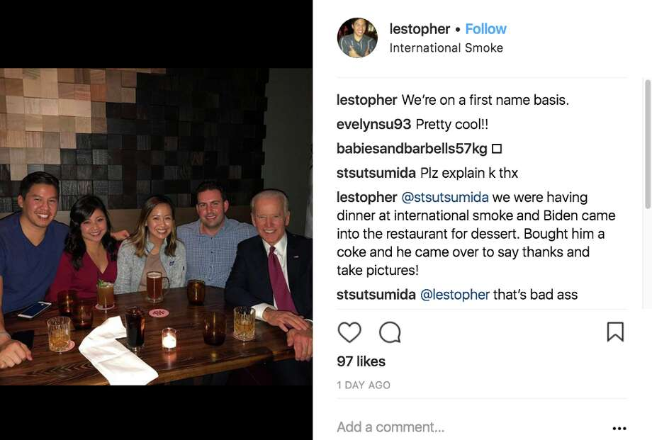 Fellow diners at International Smoke in San Francisco took photos with Former Vice President Joe Biden on Tuesday, Jan. 9, 2017. Photo: Instagram Screen Grab