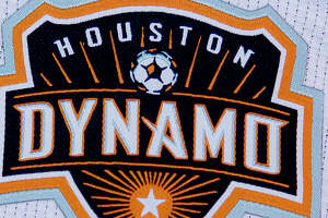 2/25/13:  A detail shot of the  new Houston Dynamo uniform unveiling at BBVA Stadium in Houston Texas. The new uniforms are a lighter material and have two stars above the Dynamo logo representing the two MLS Cup Championships and a Texas Flag on the bottom of the shirt.