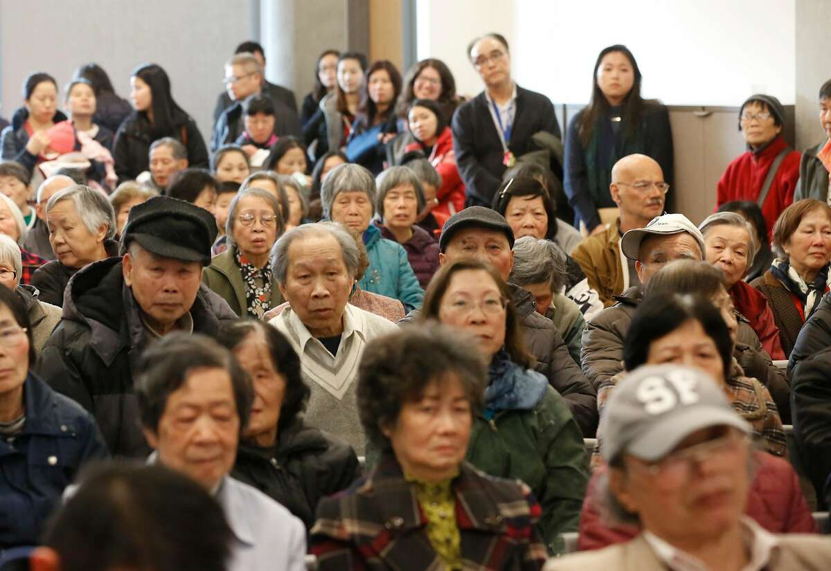 A packed room was gathered as San Francisco's acting Mayor London Breed announced her intentions to endorse a plan to rename Portsmouth Square Plaza in Chinatown after Mayor Ed Lee, during a Portsmouth Square PLaza community meeting, on Thursday, Jan. 11, 2018 in San Francisco, California.