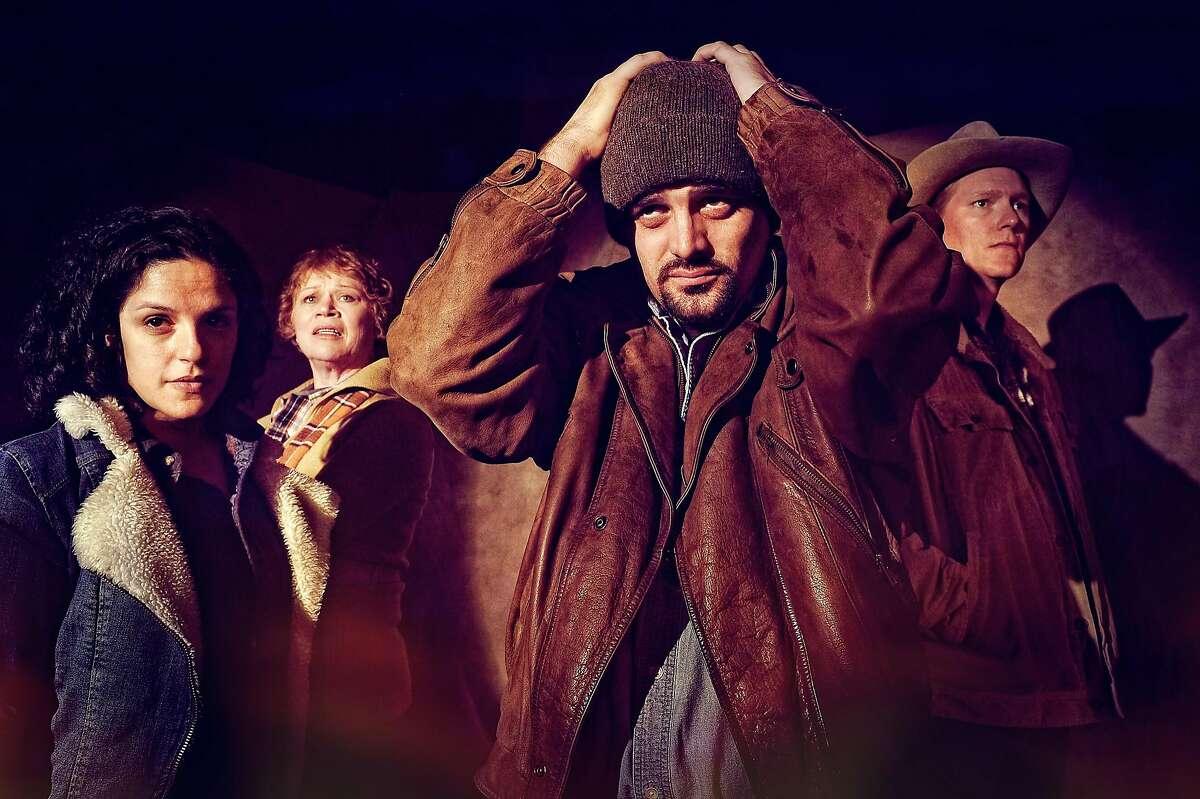 "From left:�Roneet Aliza Rahamim, Judith Miller, Josiah Frampton and Jeff Clarke in Palo Alto Players� ""The Laramie Project."""