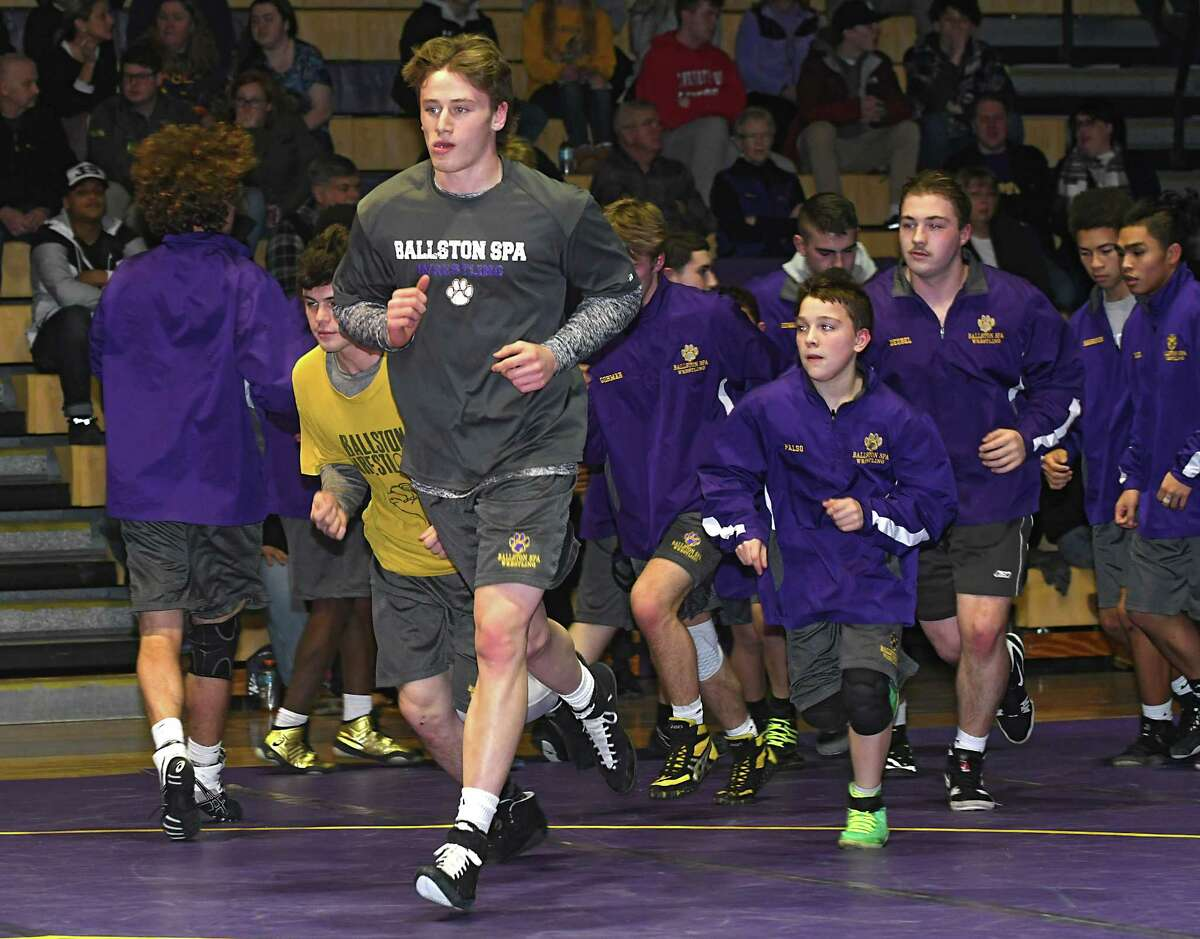 Ballston Spa senior Jake Cook leads a warm up run with his team before a match with Shenendehowa at Ballston Spa High School on Wednesday, Jan. 10, 2018 in Ballston Spa, N.Y. (Lori Van Buren/Times Union)