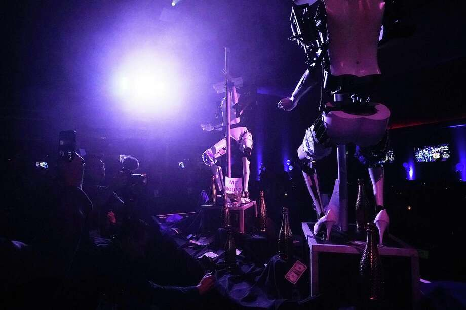 "Two ""stripper robots"" perform in Las Vegas this week. They were not part of the CES technology show. Photo: Alex Wong, Staff / 2018 Getty Images"