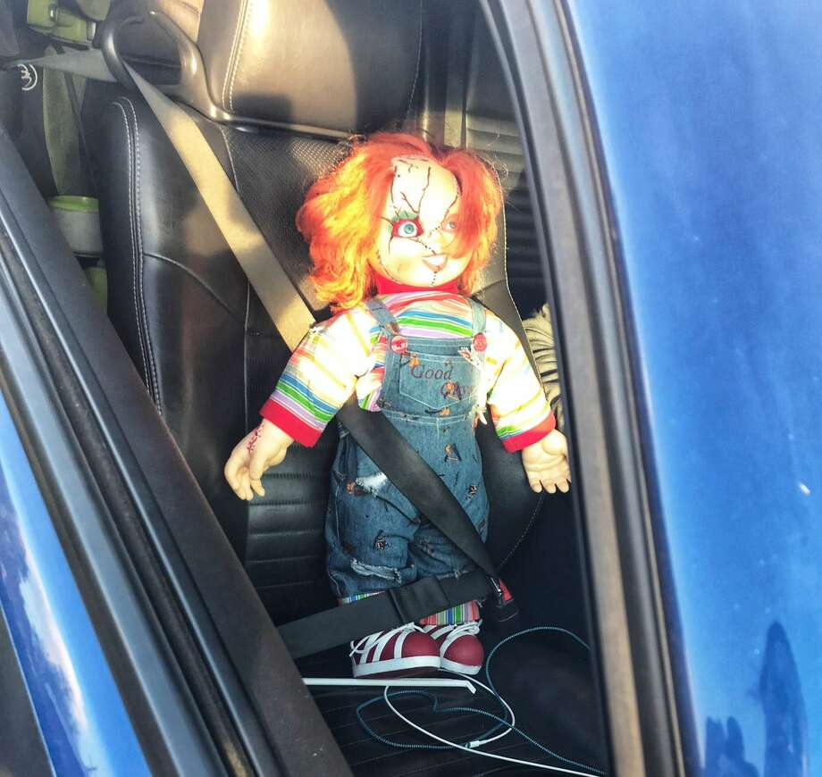CHP Contra Costa pulled over a driver in the carpool lane with a Chucky doll in the passenger seat on Thursday, Jan. 11, 2018. Photo: CHP Contra Costa