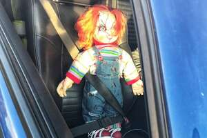 CHP Contra Costa pulled over a driver in the carpool lane with a Chucky doll in the passenger seat on Thursday, Jan. 11, 2018.